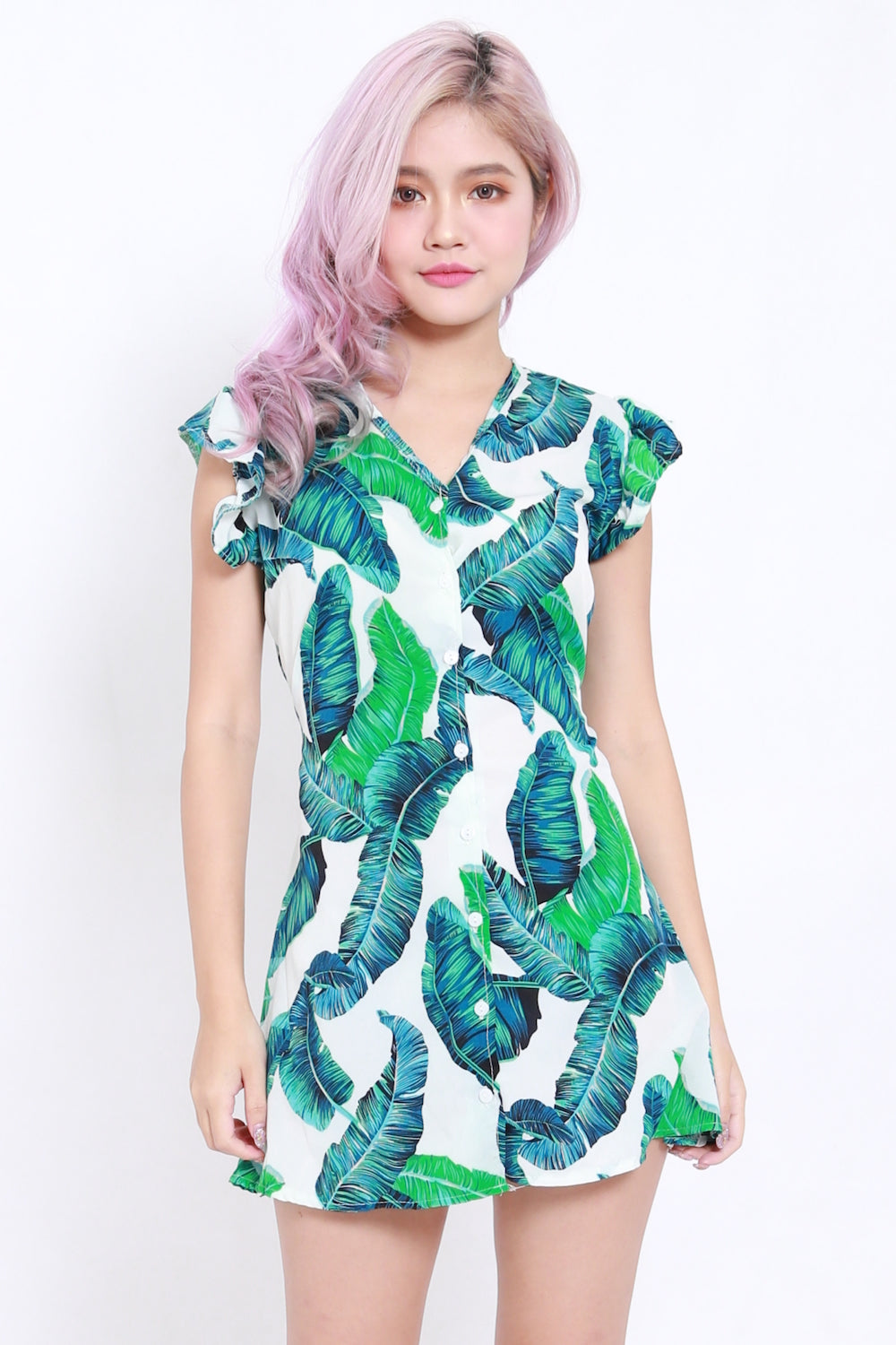 Palm Leaves Button Dress (White)