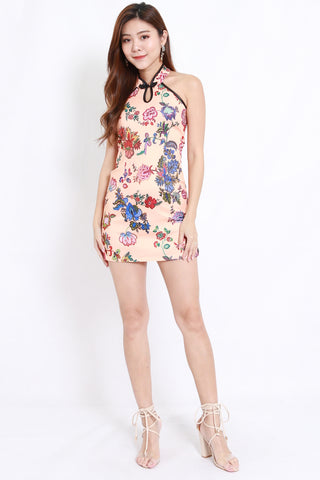 Peach Floral Cheongsam Dress