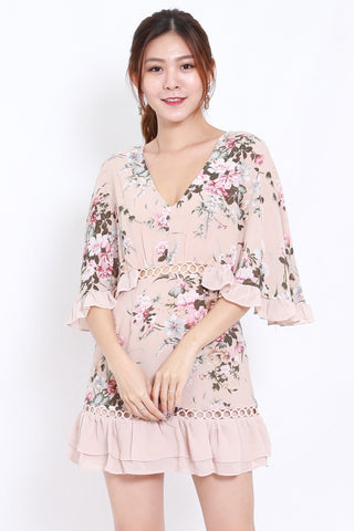 Pink Floral Flutter Sleeve Dress