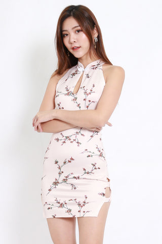 Pink Floral Side Slit Cheongsam Dress