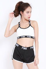 Pink Sports Shorts (White)