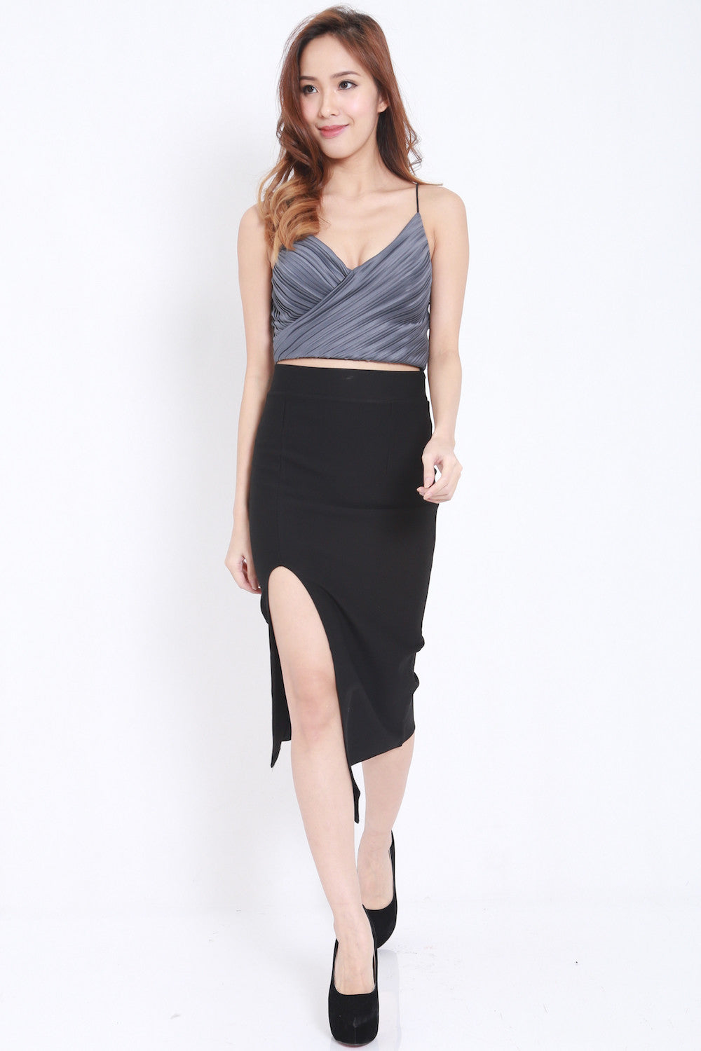 Pleated Bralet (Gun Metal)
