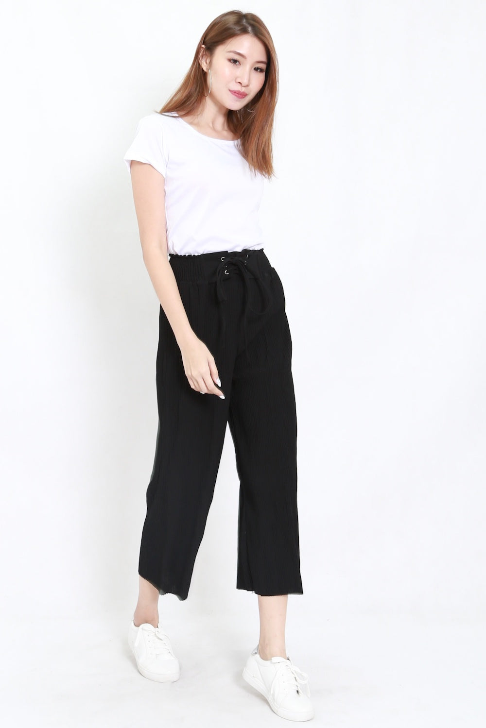 Pleated Culottes 2pcs Set (Black)