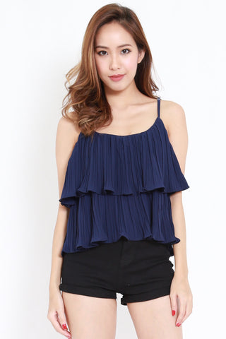 Pleated Layer Spag (Navy)