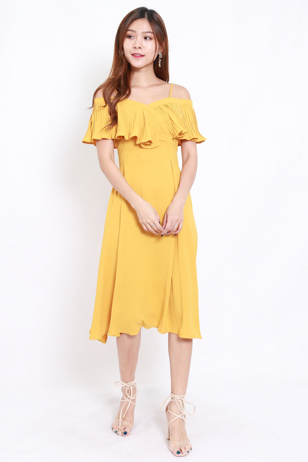 961d65e41349 Pleated Off Shoulder Midi Dress (Yellow) – Carrislabelle