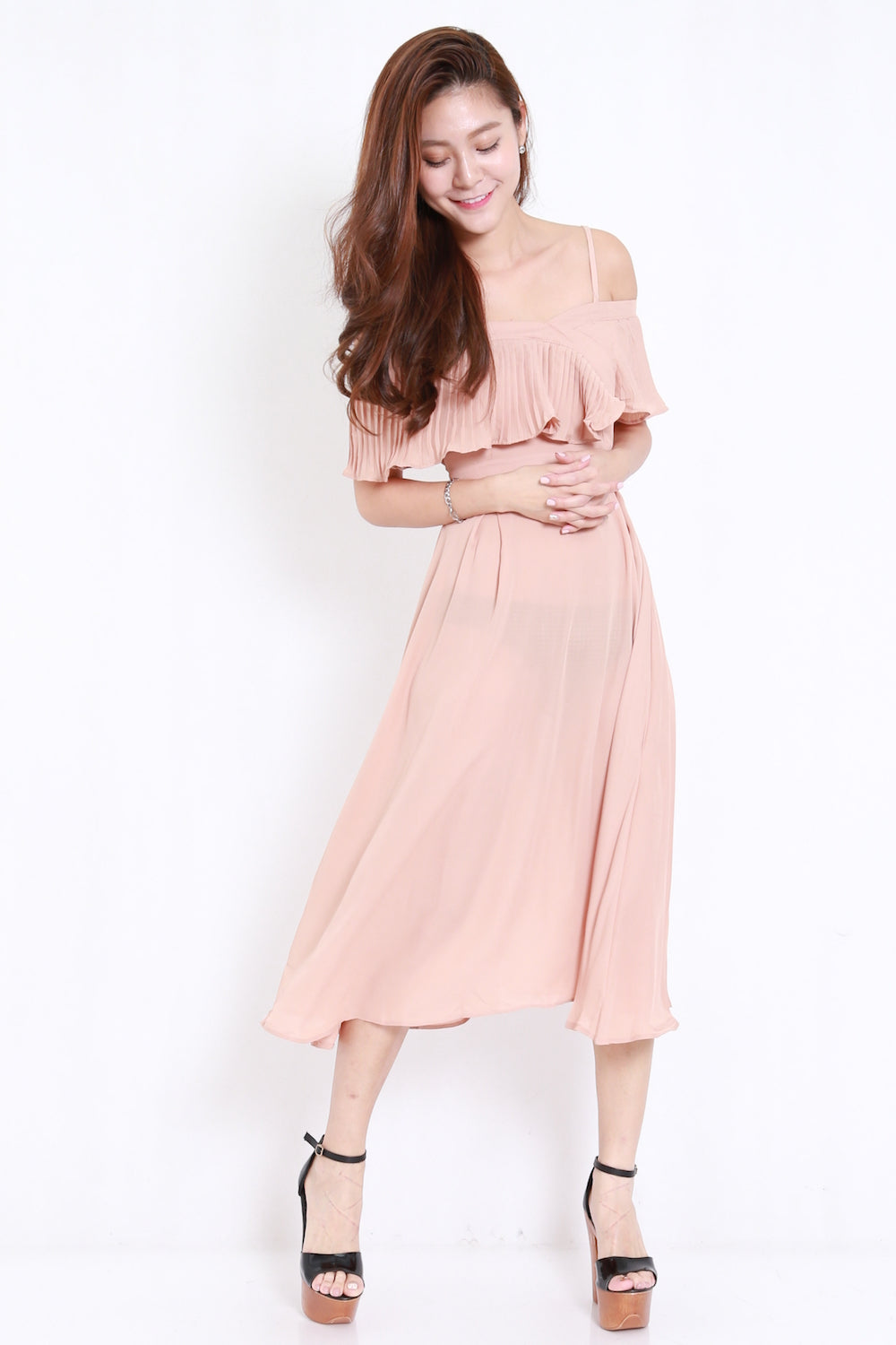 Pleated Offsie Midi Dress (Nude)