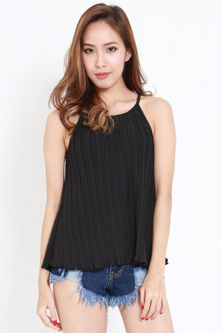 Pleated Round Neck Spag (Black)