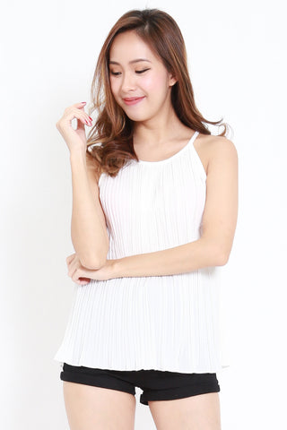 Pleated Round Neck Spag (White)