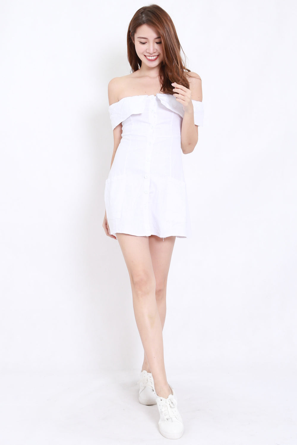 Pocket Buttons Offsie Dress (White)