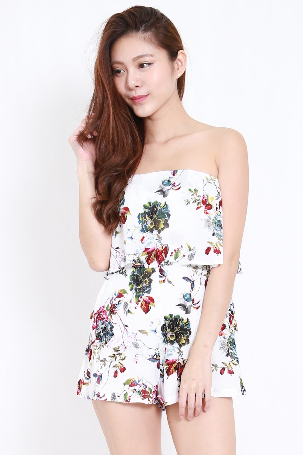 Pocket Floral Tube Romper (G)