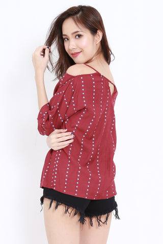 Polka Dot Ribbon Top (Maroon)