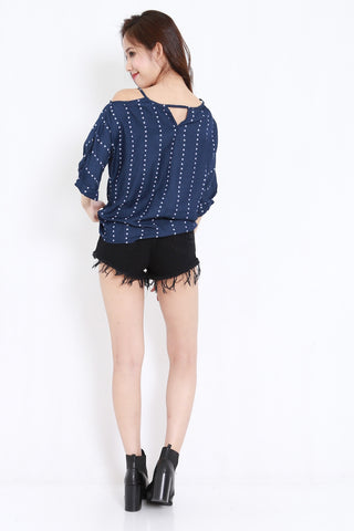 Polka Dot Ribbon Top (Navy)