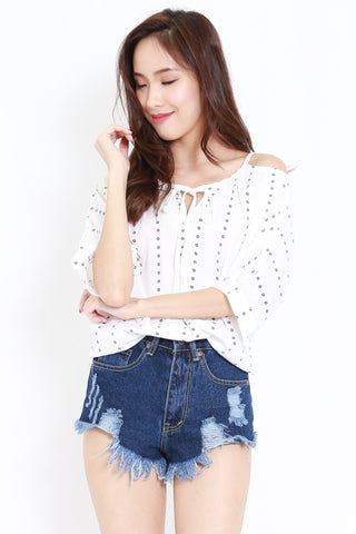 Polka Dot Ribbon Top (White)