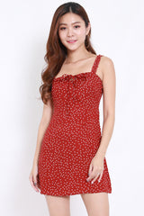 Polkadot Ribbon Tie Front Dress (Maroon)
