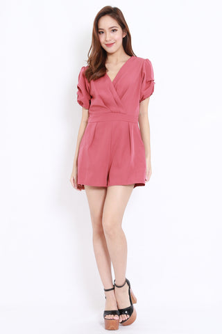 Puff Sleeve Pocket Romper (Rosewood)