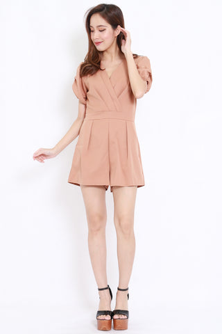 Puff Sleeve Pocket Romper (Taupe)