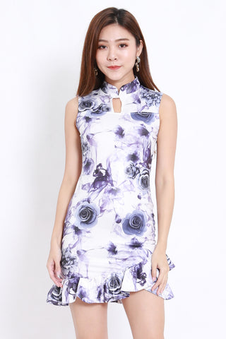 Purple Roses Cheongsam Dress
