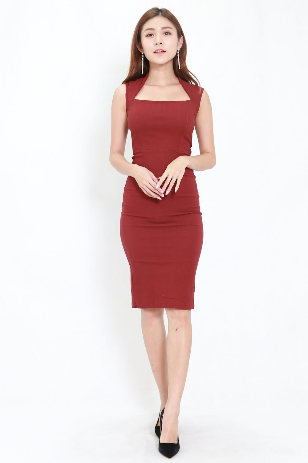 Queen Anne Midi Dress (Maroon)