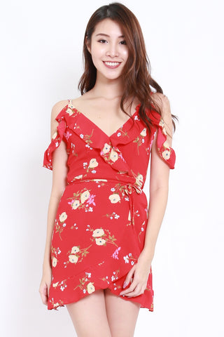 Red Floral Offsie Overlap Dress