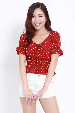 Red Polka Puffy Top