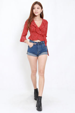 Red Polka Ruffle Top