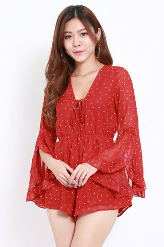 Red Polkadot Lace Up Chiffon Romper