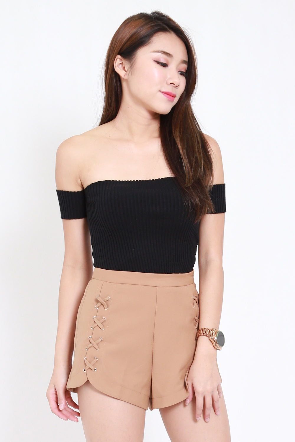 Ribbed Crop Offsie (Black)