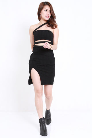 Ribbed Cutout Toga Dress (Black)