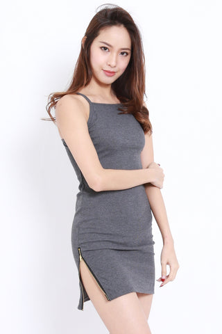 Ribbed Slit Zip Dress (Grey)