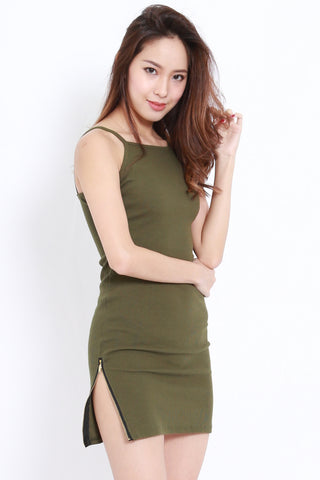 Ribbed Slit Zip Dress (Olive)