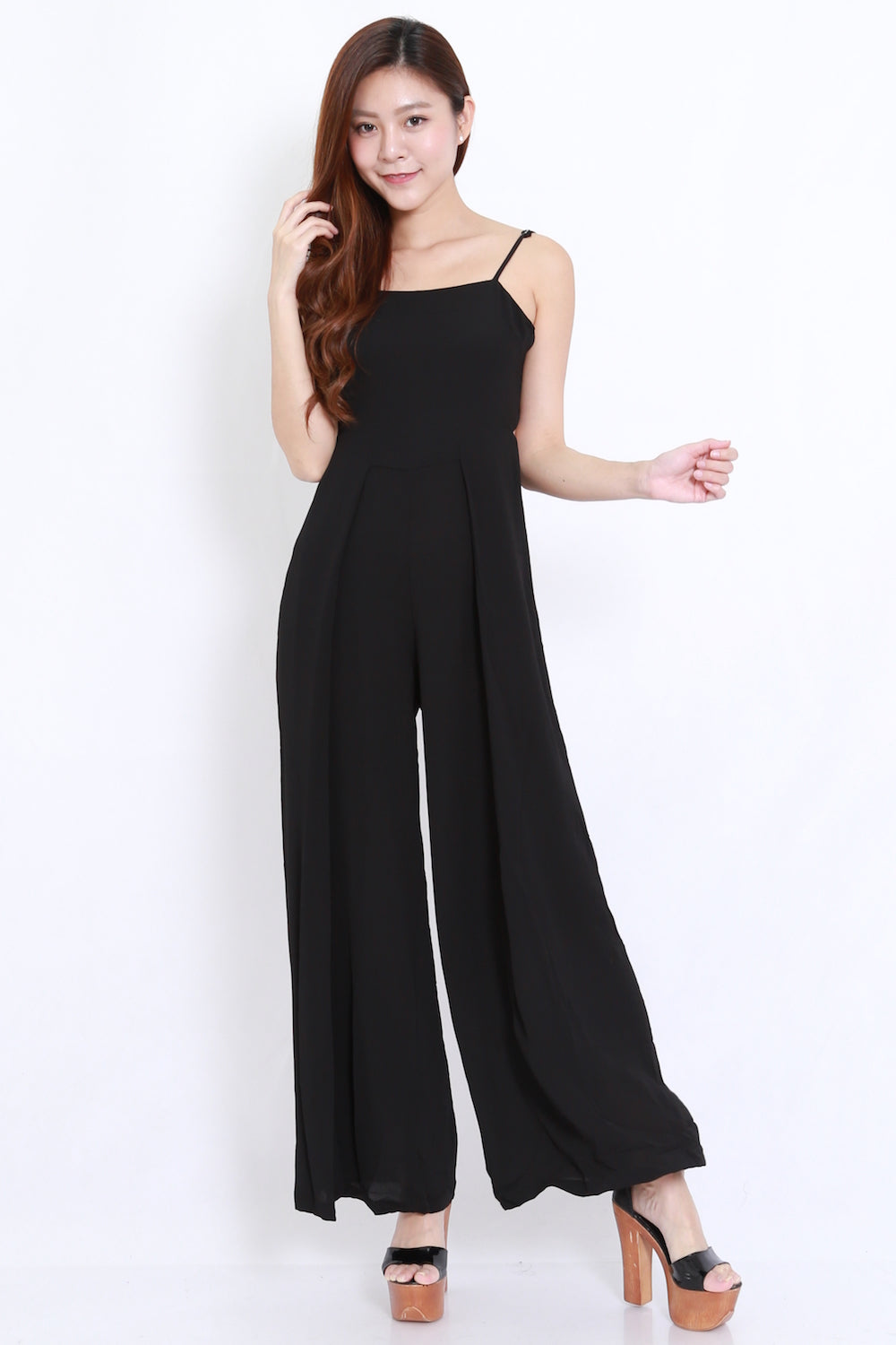 Ribbon Back Black Jumpsuit