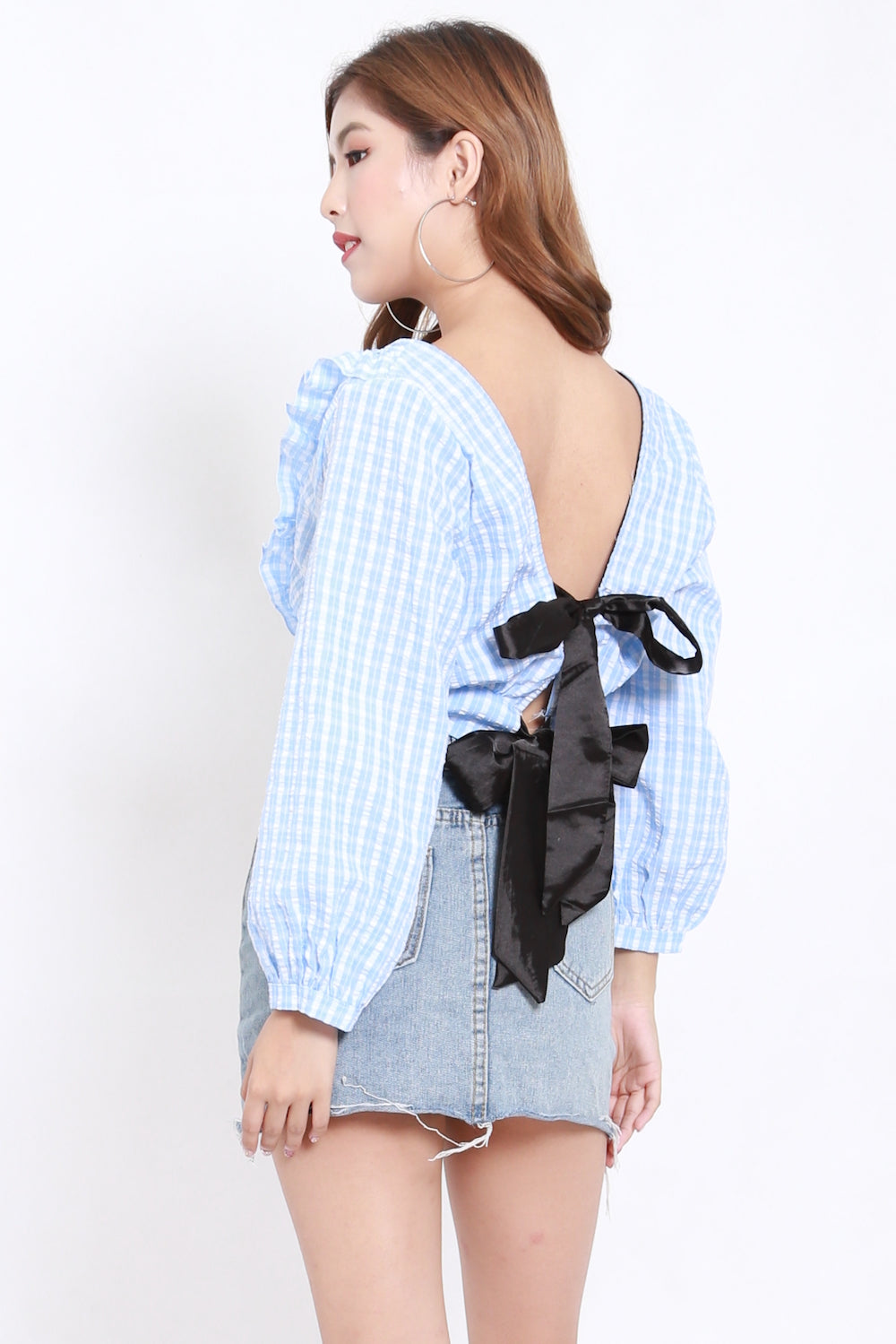 Ribbon Back Checks Top (Light Blue)