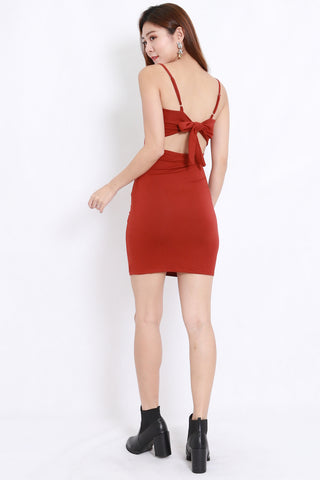 Ribbon Back Dress (Orange)