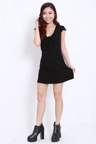 Ribbon Cap Sleeve Skater Dress (Black)
