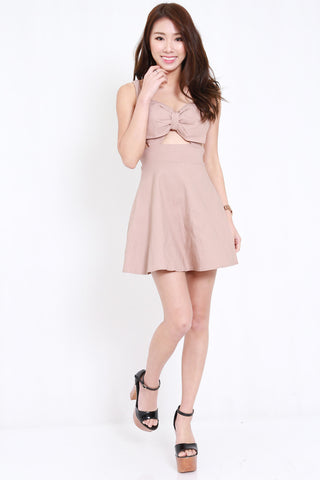 Ribbon Cutout Dress (Nude)