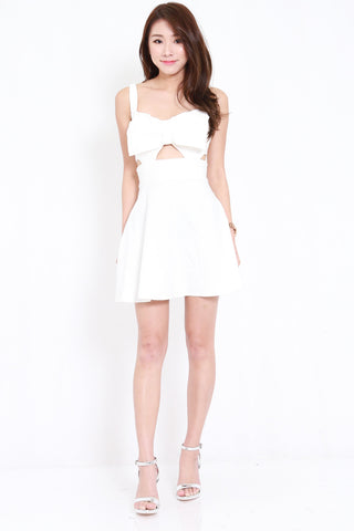 Ribbon Cutout Dress (White)