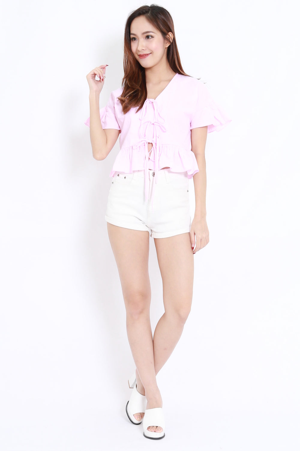 Ribbon Front Babydoll Top (Pink)
