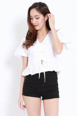 Ribbon Front Babydoll Top (White)