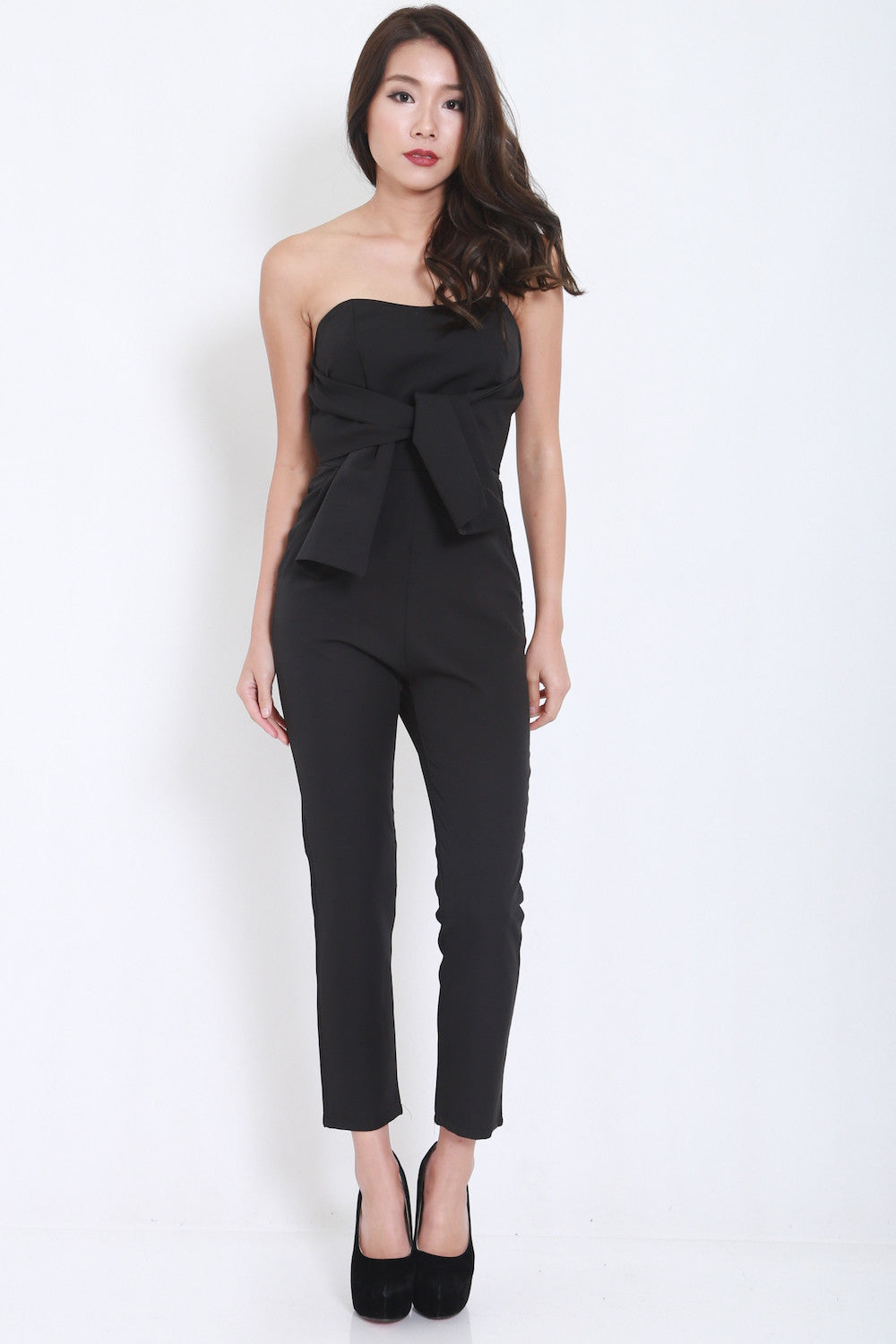 Ribbon Front Jumpsuit (Black) -  - 1