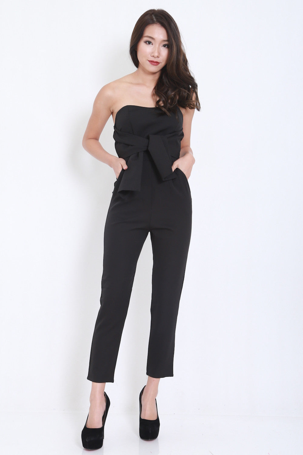 Ribbon Front Jumpsuit (Black) -  - 2
