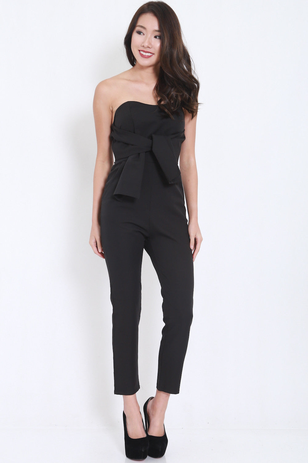 Ribbon Front Jumpsuit (Black) -  - 3
