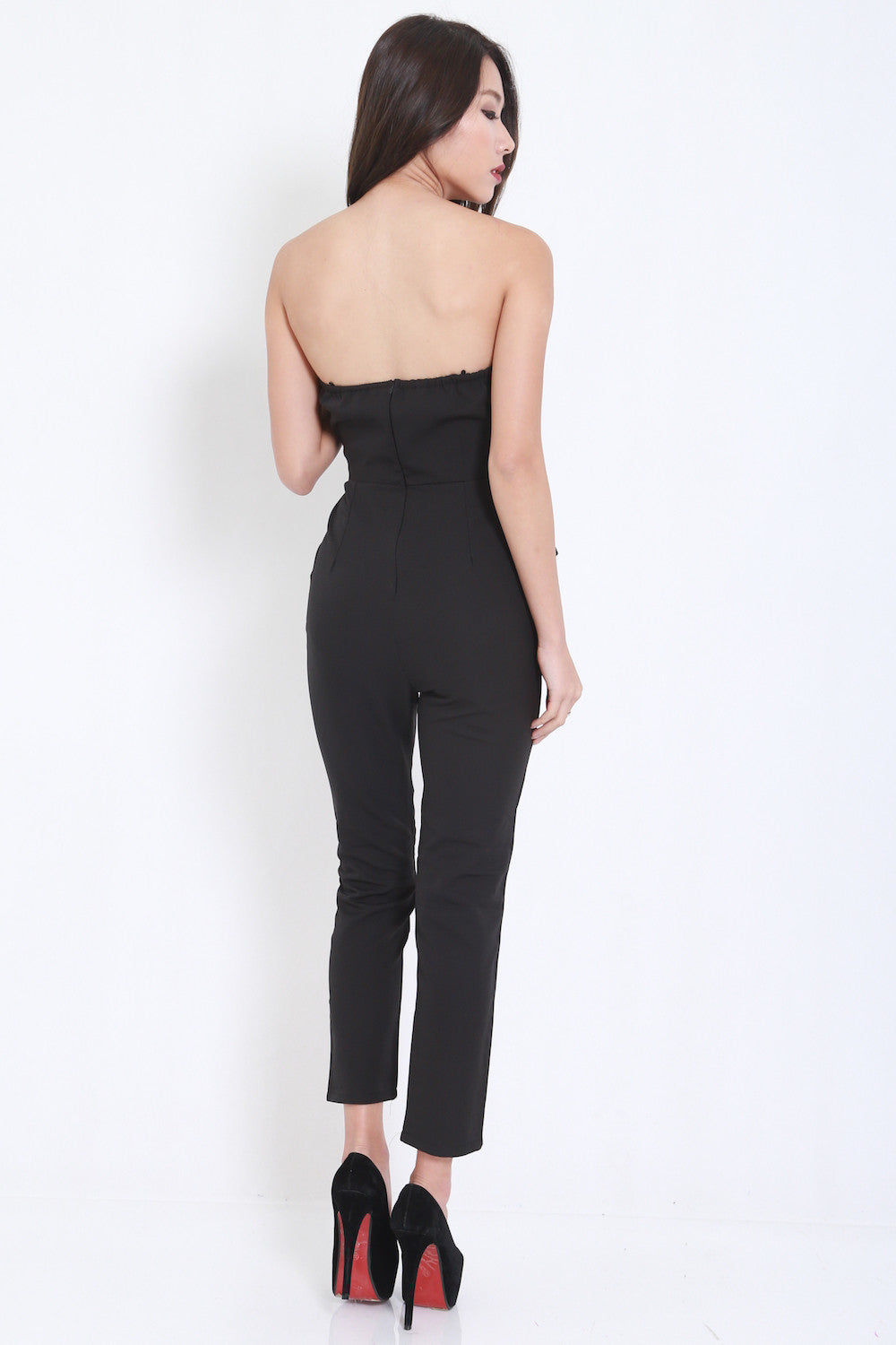 Ribbon Front Jumpsuit (Black) -  - 5