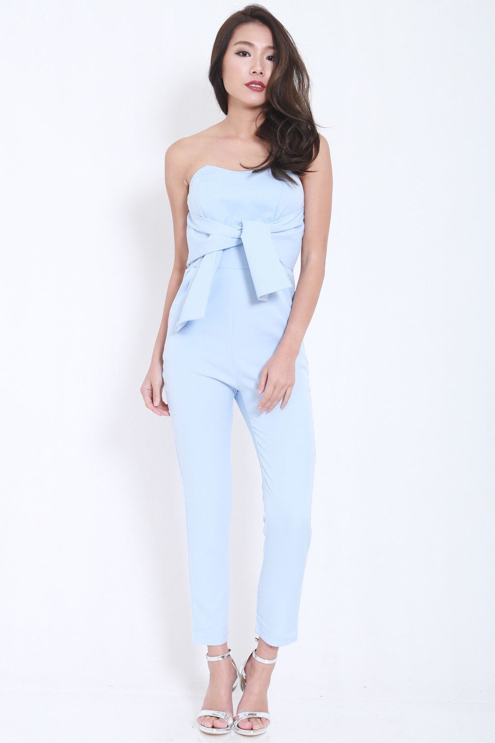 Ribbon Front Jumpsuit (Blue) -  - 2