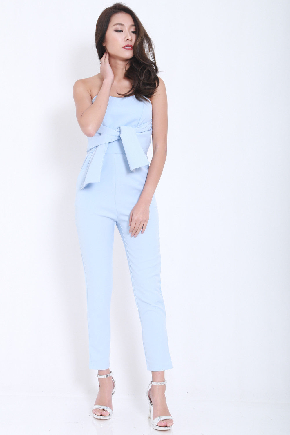 Ribbon Front Jumpsuit (Blue) -  - 3