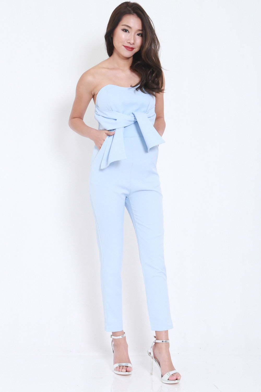Ribbon Front Jumpsuit (Blue) -  - 1