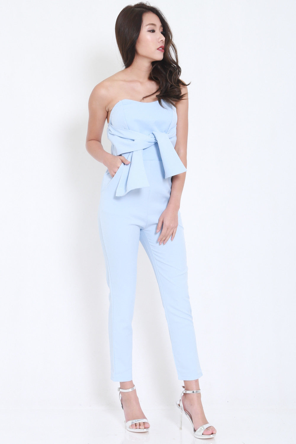 Ribbon Front Jumpsuit (Blue) -  - 4