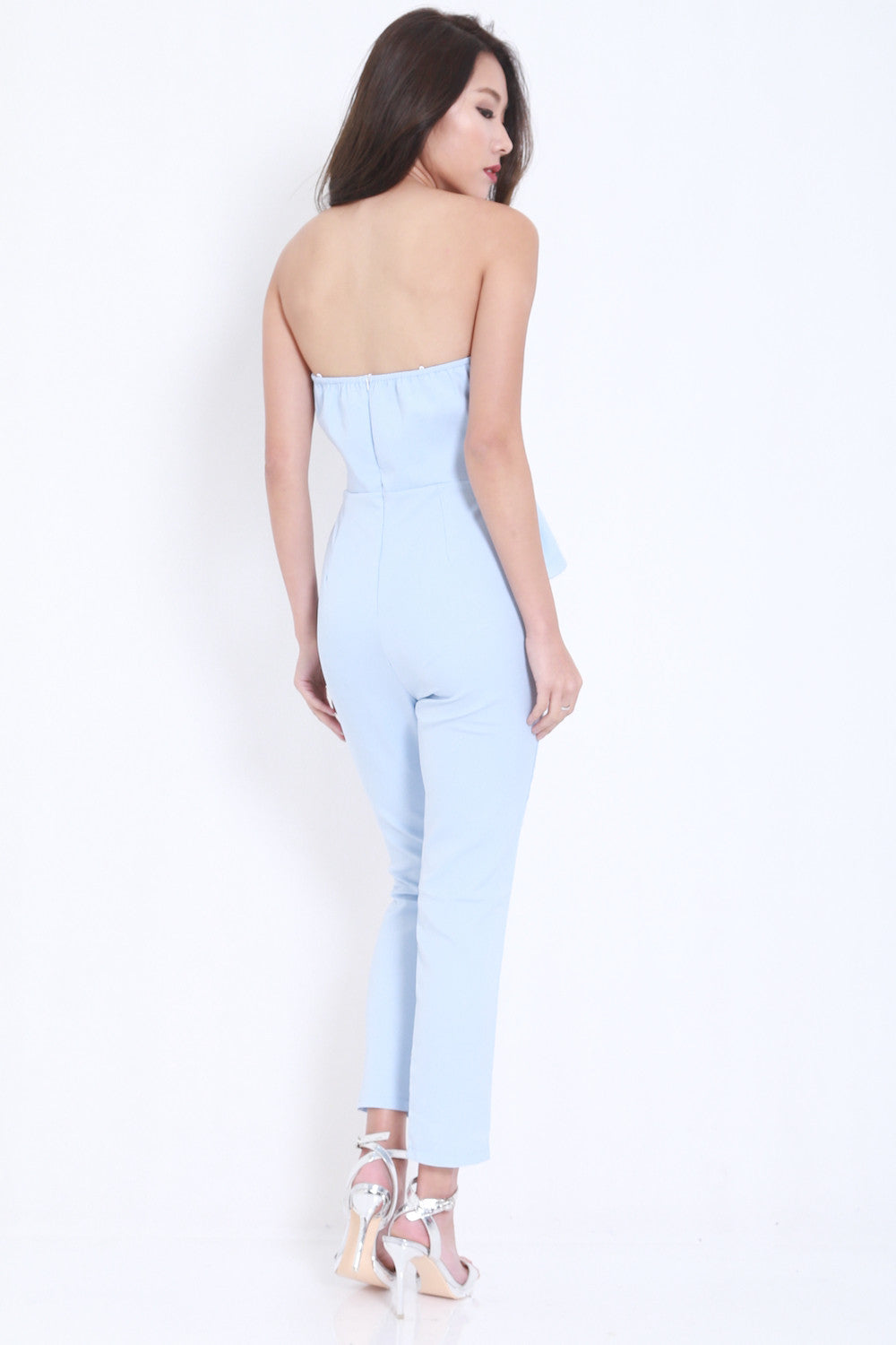 Ribbon Front Jumpsuit (Blue) -  - 5