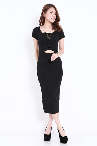 Ribbon Lace Midi Dress (Black)