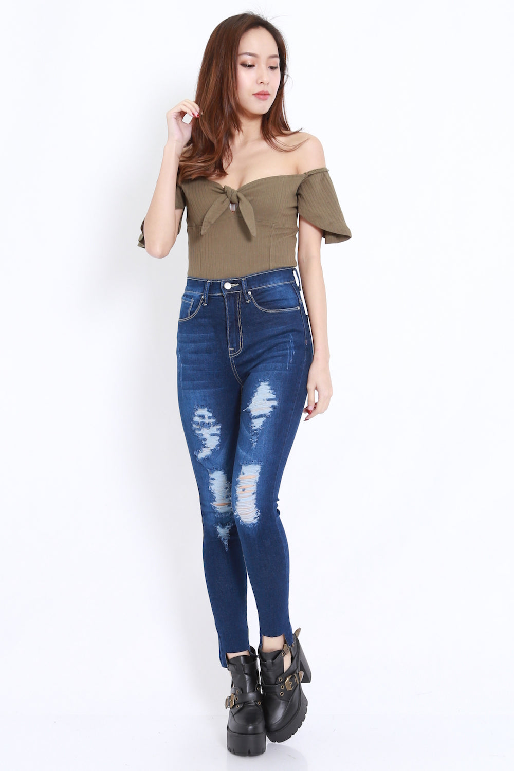 Ripped High Waist Jeans (Dark)