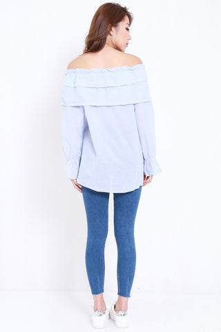 Ribbon Ruffle Top (Blue)
